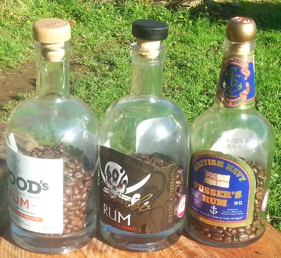 bottles with coffee beans